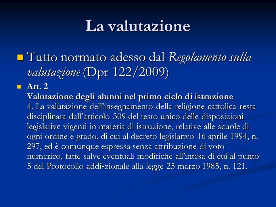 La valutazione Tutto normato adesso dal Regolamento sulla valutazione (Dpr 122/2009) Tutto normato adesso dal Regolamento sulla valutazione (Dpr 122/2009) Art.