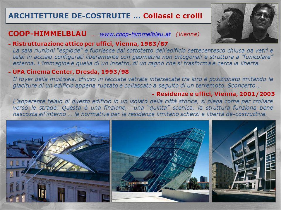 ARCHITETTURE DE-COSTRUITE … Collassi e crolli COOP-HIMMELBLAU … www.coop-himmelblau.at (Vienna)www.coop-himmelblau.at - UFA Cinema Center, Dresda, 199