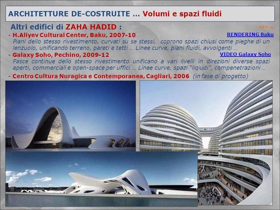 *** > ARCHITETTURE DE-COSTRUITE … Volumi e spazi fluidi Altri edifici di ZAHA HADID : - H.Aliyev Cultural Center, Baku, 2007-10 - Galaxy Soho, Pechino