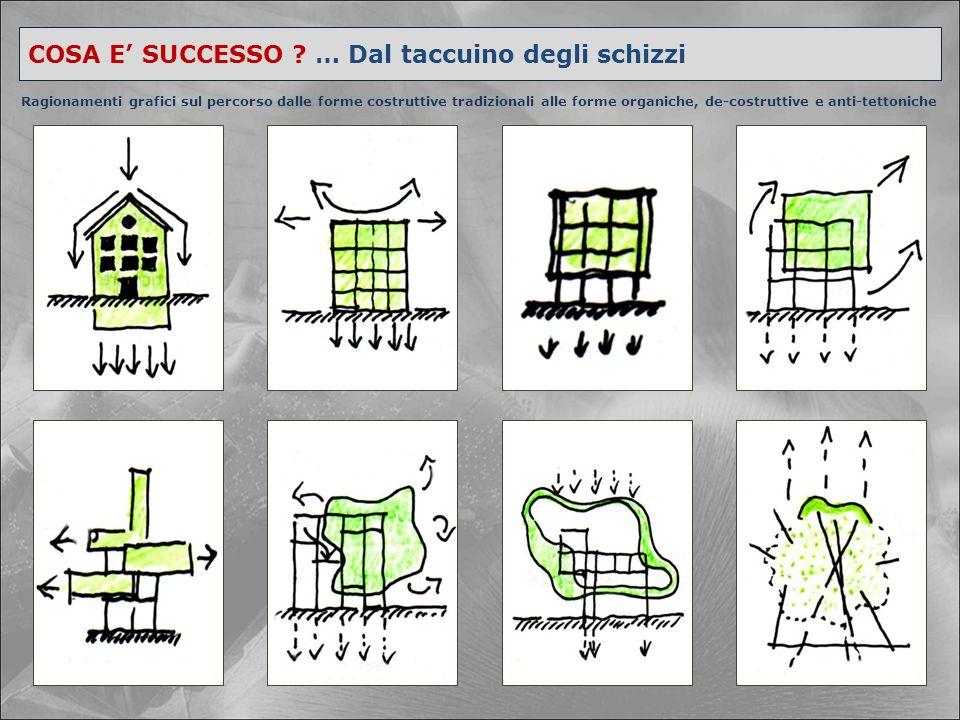 COSA E' SUCCESSO ? … Dal taccuino degli schizzi Ragionamenti grafici sul percorso dalle forme costruttive tradizionali alle forme organiche, de-costru