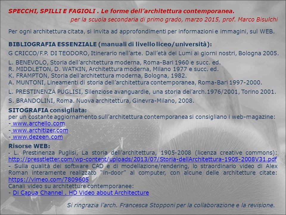 BIBLIOGRAFIA ESSENZIALE (manuali di livello liceo/università): SITOGRAFIA consigliata: per un costante aggiornamento sull'architettura contemporanea s