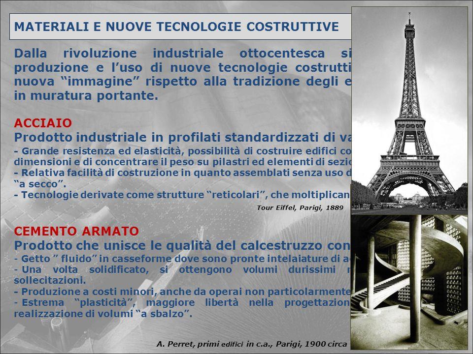 MATERIALI E NUOVE TECNOLOGIE COSTRUTTIVE ACCIAIO CEMENTO ARMATO Dalla rivoluzione industriale ottocentesca si diffonde la produzione e l'uso di nuove