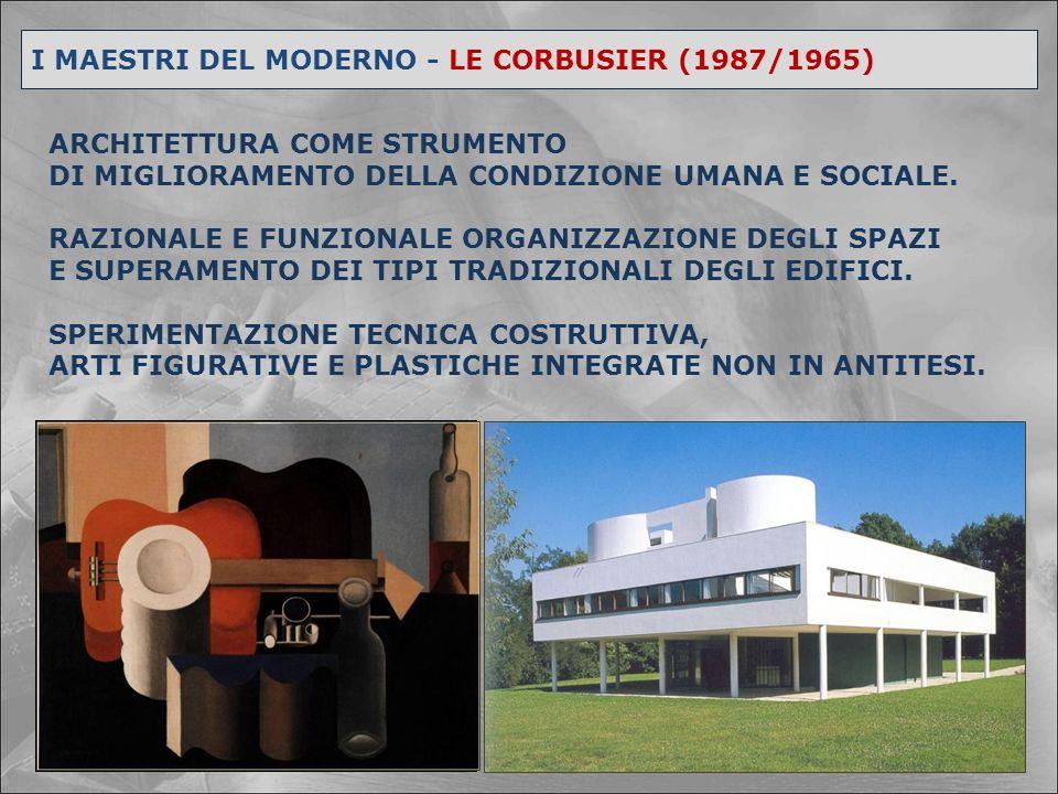 I MAESTRI DEL MODERNO - LE CORBUSIER I CINQUE PUNTI DI UNA NUOVA ARCHITETTURA PILOTIS – Edificio sollevato da terra su pilastri in cemento armato.