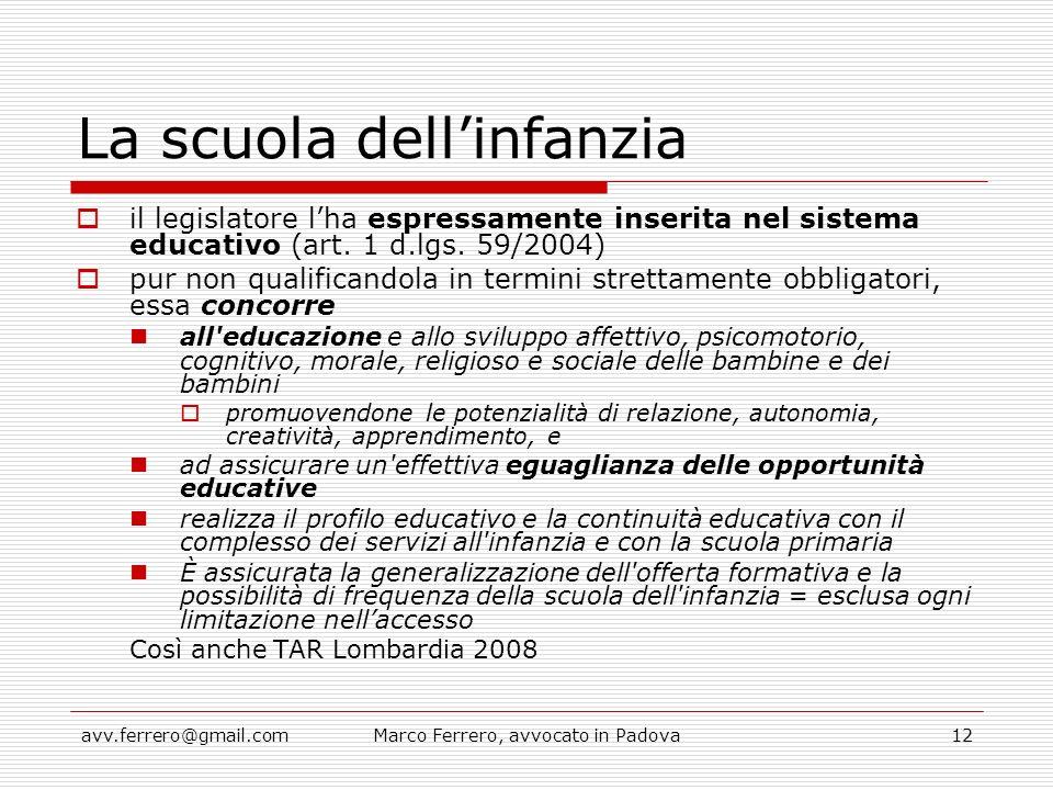 avv.ferrero@gmail.comMarco Ferrero, avvocato in Padova12 La scuola dell'infanzia  il legislatore l'ha espressamente inserita nel sistema educativo (a