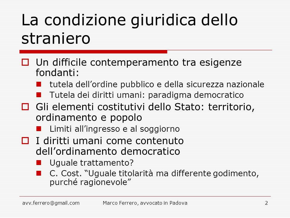 avv.ferrero@gmail.comMarco Ferrero, avvocato in Padova2 La condizione giuridica dello straniero  Un difficile contemperamento tra esigenze fondanti: