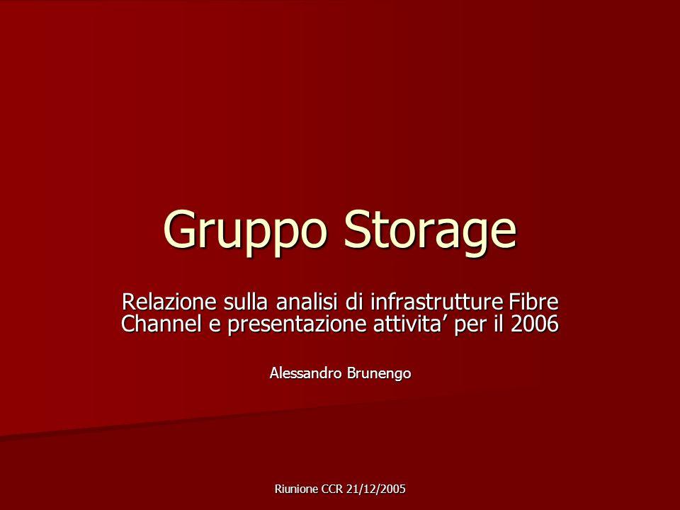 Riunione CCR 21/12/2005 Gruppo Storage Relazione sulla analisi di infrastrutture Fibre Channel e presentazione attivita' per il 2006 Alessandro Brunengo