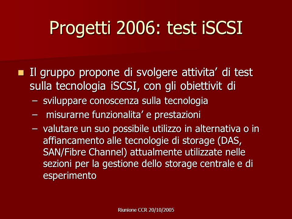 Riunione CCR 20/10/2005 Progetti 2006: test iSCSI Il gruppo propone di svolgere attivita' di test sulla tecnologia iSCSI, con gli obiettivit di Il gruppo propone di svolgere attivita' di test sulla tecnologia iSCSI, con gli obiettivit di –sviluppare conoscenza sulla tecnologia – misurarne funzionalita' e prestazioni –valutare un suo possibile utilizzo in alternativa o in affiancamento alle tecnologie di storage (DAS, SAN/Fibre Channel) attualmente utilizzate nelle sezioni per la gestione dello storage centrale e di esperimento