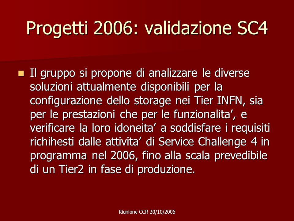 Riunione CCR 20/10/2005 Progetti 2006: validazione SC4 Il gruppo si propone di analizzare le diverse soluzioni attualmente disponibili per la configurazione dello storage nei Tier INFN, sia per le prestazioni che per le funzionalita', e verificare la loro idoneita' a soddisfare i requisiti richihesti dalle attivita' di Service Challenge 4 in programma nel 2006, fino alla scala prevedibile di un Tier2 in fase di produzione.
