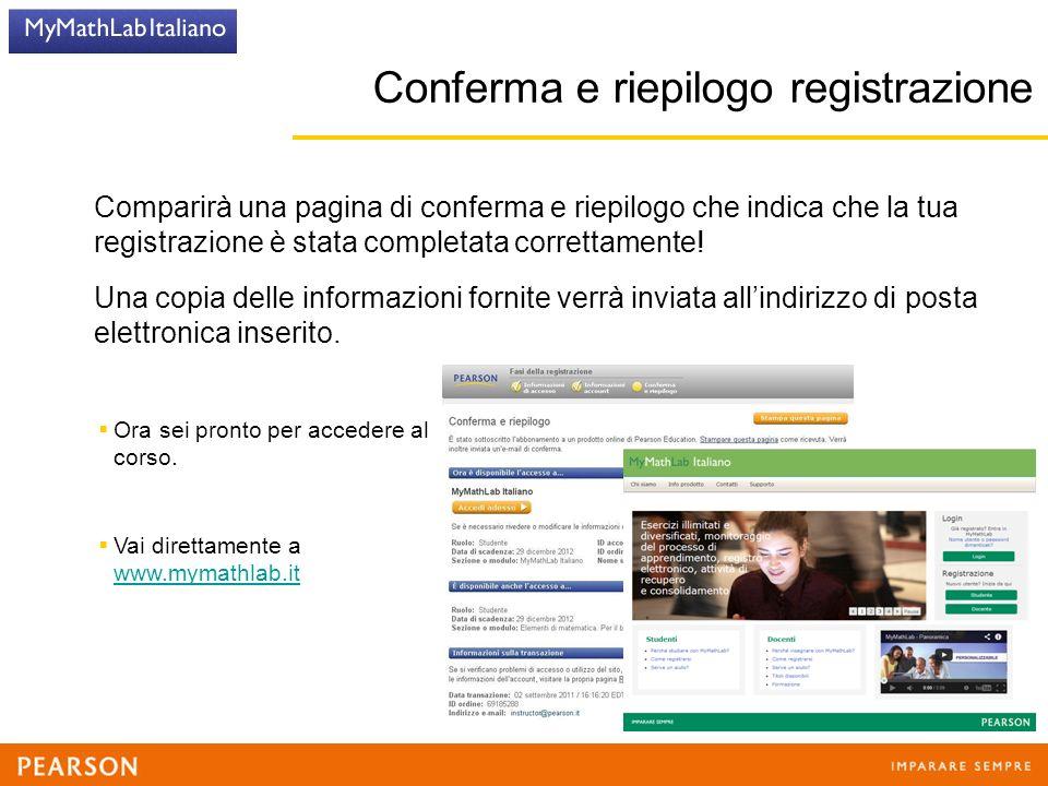 Comparirà una pagina di conferma e riepilogo che indica che la tua registrazione è stata completata correttamente.