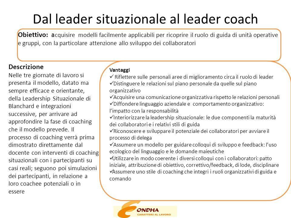 Dal leader situazionale al leader coach Obiettivo: a cquisire modelli facilmente applicabili per ricoprire il ruolo di guida di unità operative e grup
