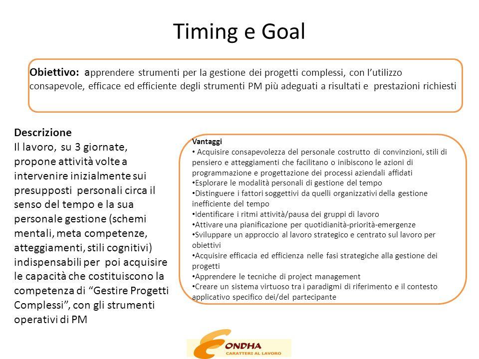 Timing e Goal Obiettivo: a pprendere strumenti per la gestione dei progetti complessi, con l'utilizzo consapevole, efficace ed efficiente degli strume