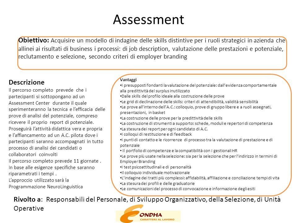 Assessment Obiettivo: Acquisire un modello di indagine delle skills distintive per i ruoli strategici in azienda che allinei ai risultati di business