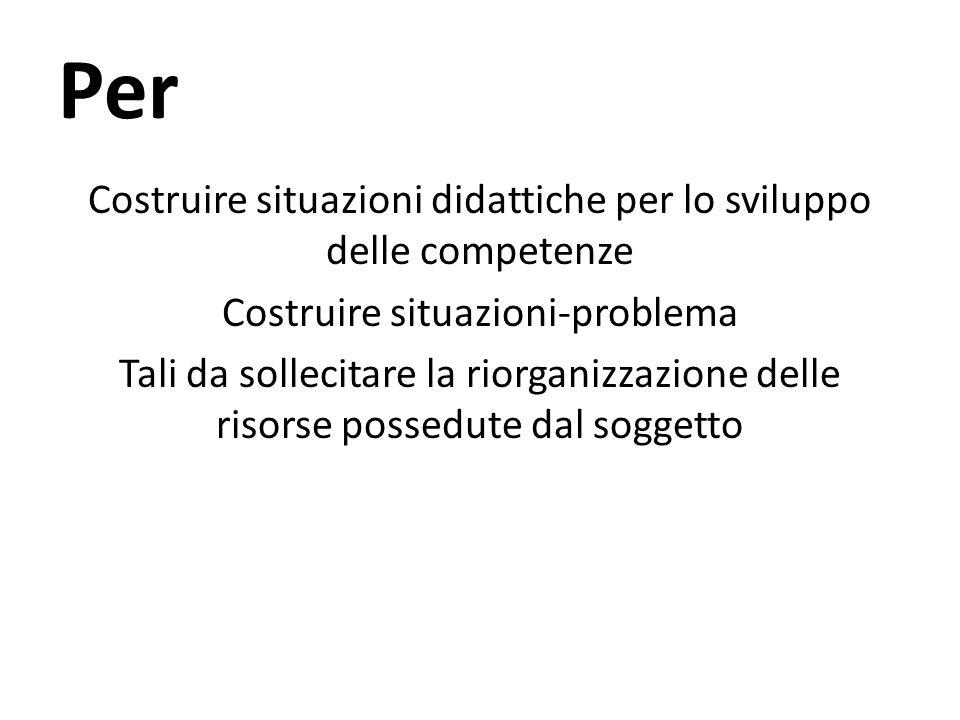 Per Costruire situazioni didattiche per lo sviluppo delle competenze Costruire situazioni-problema Tali da sollecitare la riorganizzazione delle risor