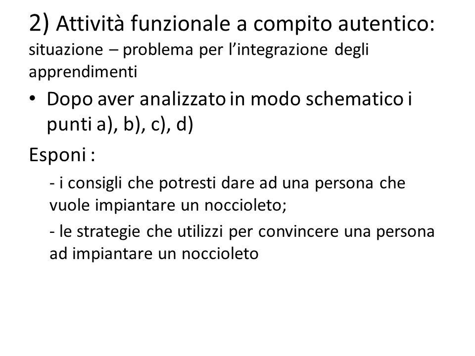2) Attività funzionale a compito autentico: situazione – problema per l'integrazione degli apprendimenti Dopo aver analizzato in modo schematico i pun