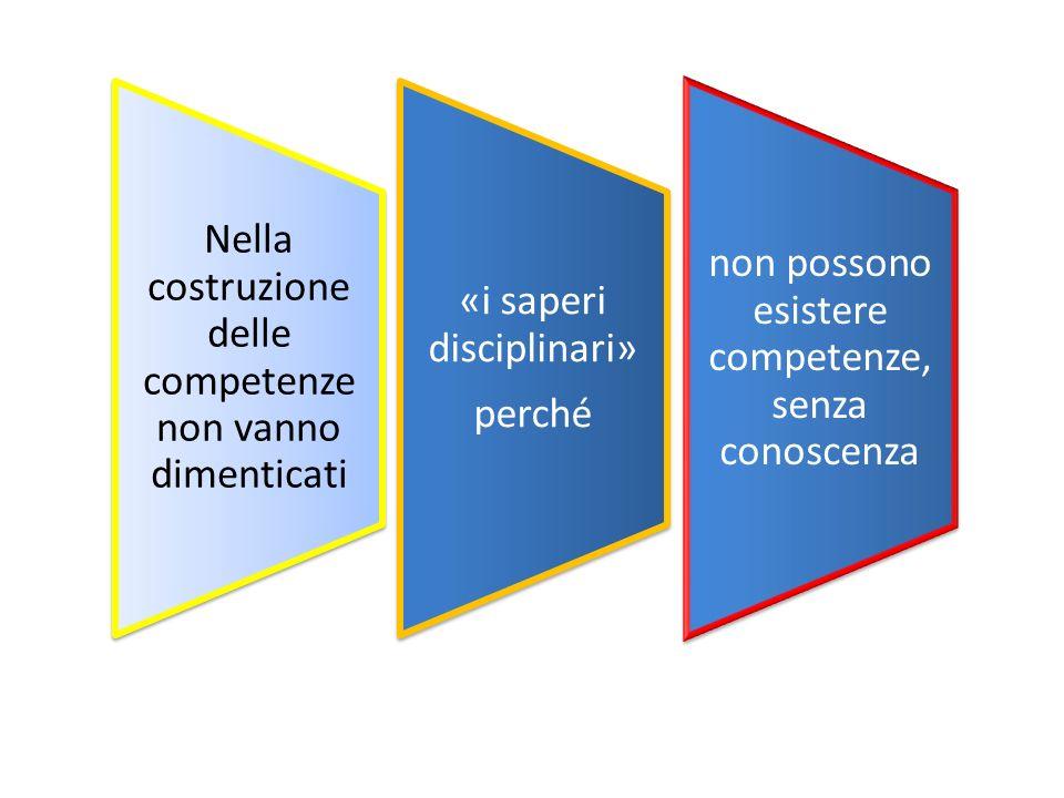 Nella costruzione delle competenze non vanno dimenticati «i saperi disciplinari» perché non possono esistere competenze, senza conoscenza
