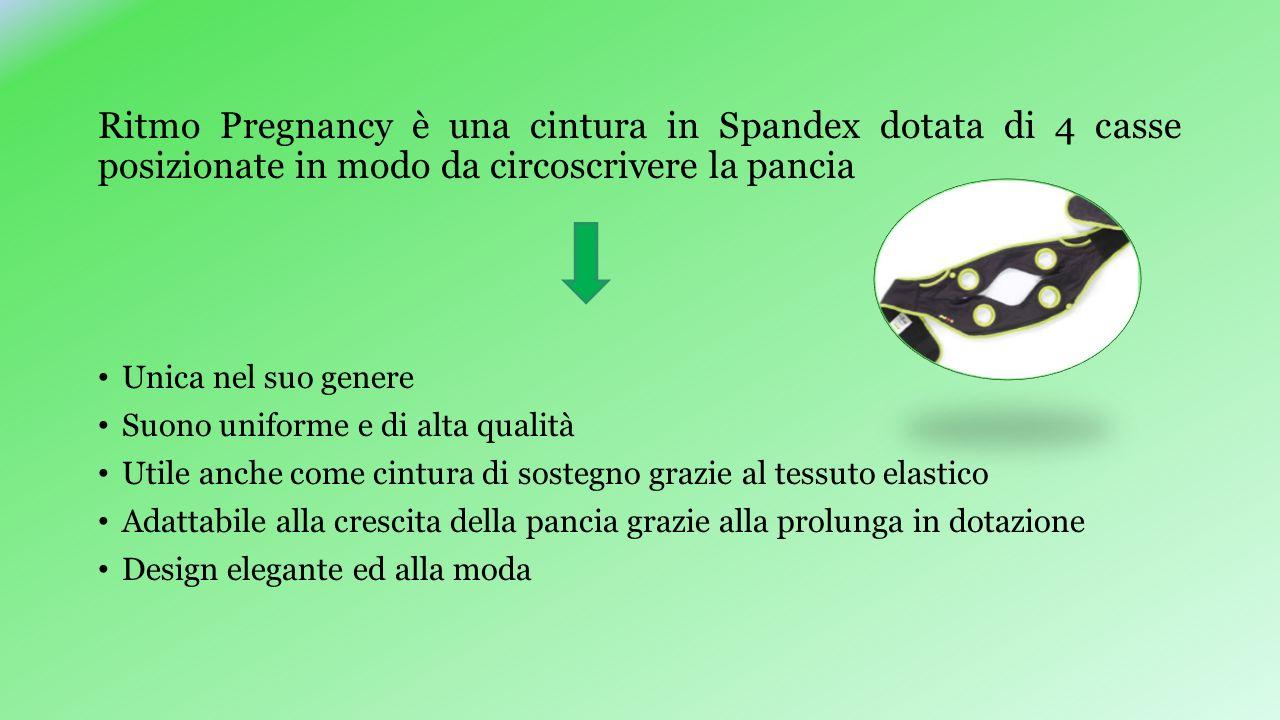 Ritmo Pregnancy è una cintura in Spandex dotata di 4 casse posizionate in modo da circoscrivere la pancia Unica nel suo genere Suono uniforme e di alt