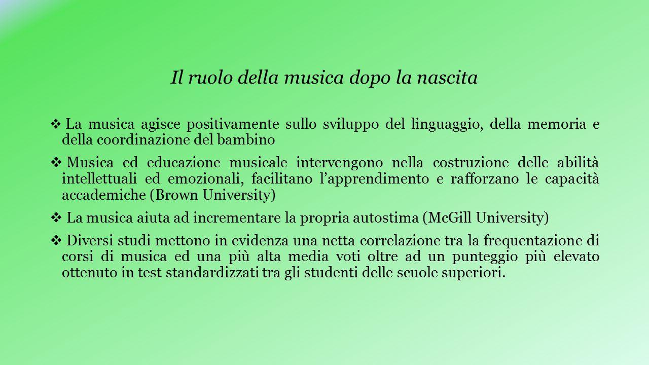 Il ruolo della musica dopo la nascita  La musica agisce positivamente sullo sviluppo del linguaggio, della memoria e della coordinazione del bambino