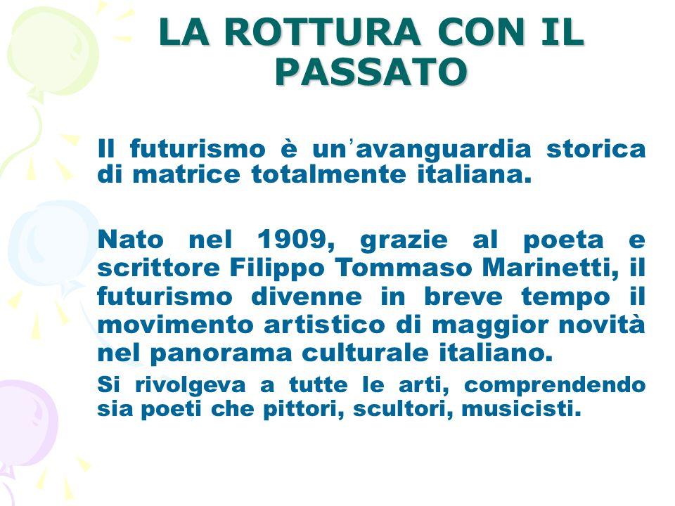 Nascita del Futurismo Nasce nel 1909, quando Marinetti pubblica sul giornale francese Figarò il Manifesto dei Futuristi .