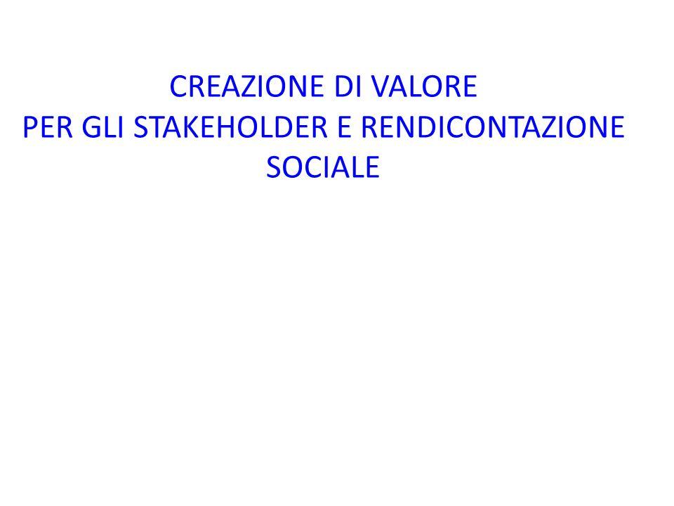 CREAZIONE DI VALORE PER GLI STAKEHOLDER E RENDICONTAZIONE SOCIALE