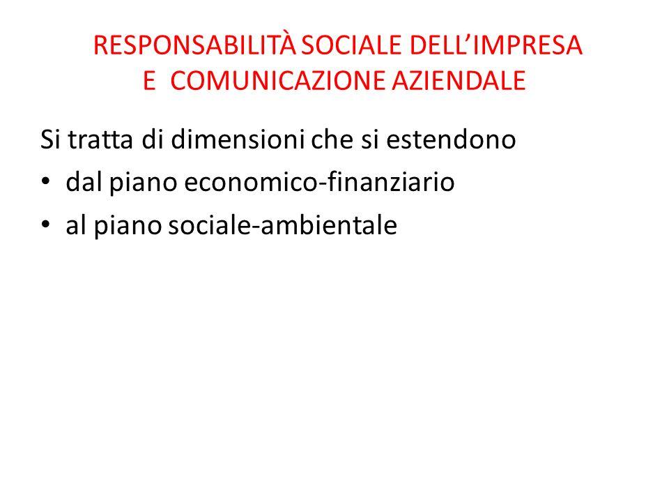 RESPONSABILITÀ SOCIALE DELL'IMPRESA E COMUNICAZIONE AZIENDALE Si tratta di dimensioni che si estendono dal piano economico-finanziario al piano sociale-ambientale