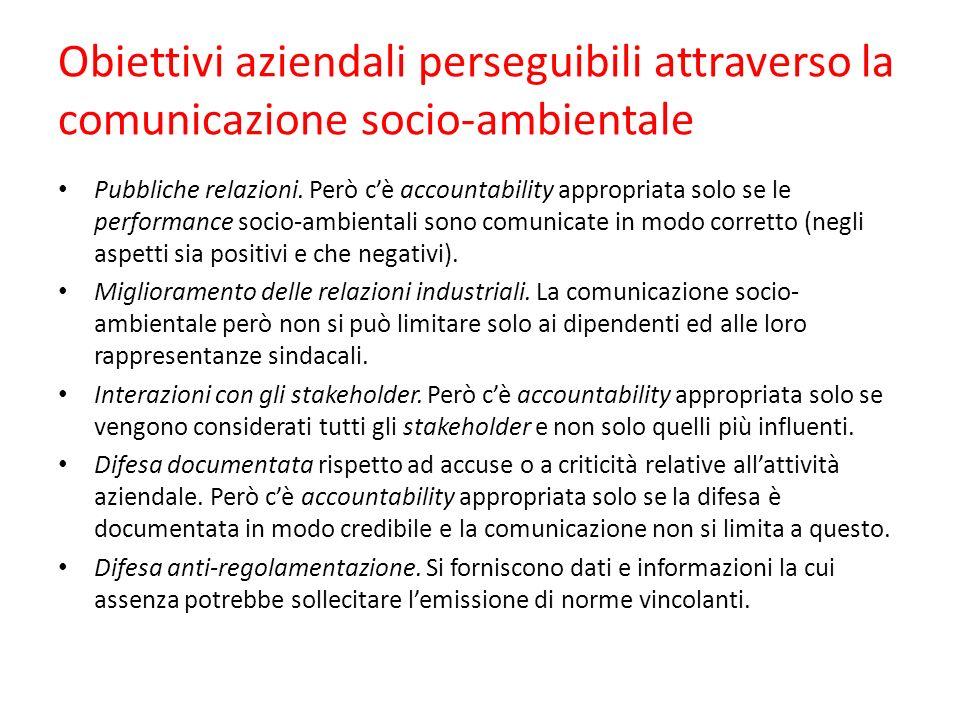 Obiettivi aziendali perseguibili attraverso la comunicazione socio-ambientale Pubbliche relazioni.