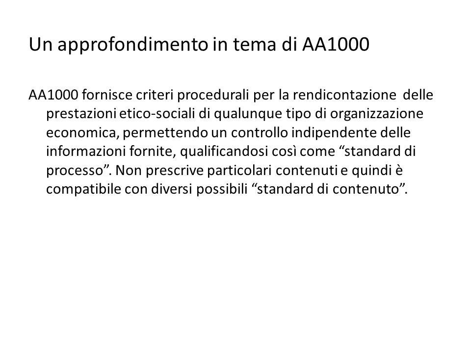 Un approfondimento in tema di AA1000 AA1000 fornisce criteri procedurali per la rendicontazione delle prestazioni etico-sociali di qualunque tipo di organizzazione economica, permettendo un controllo indipendente delle informazioni fornite, qualificandosi così come standard di processo .