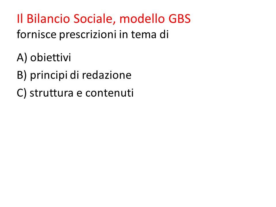 Il Bilancio Sociale, modello GBS fornisce prescrizioni in tema di A) obiettivi B) principi di redazione C) struttura e contenuti
