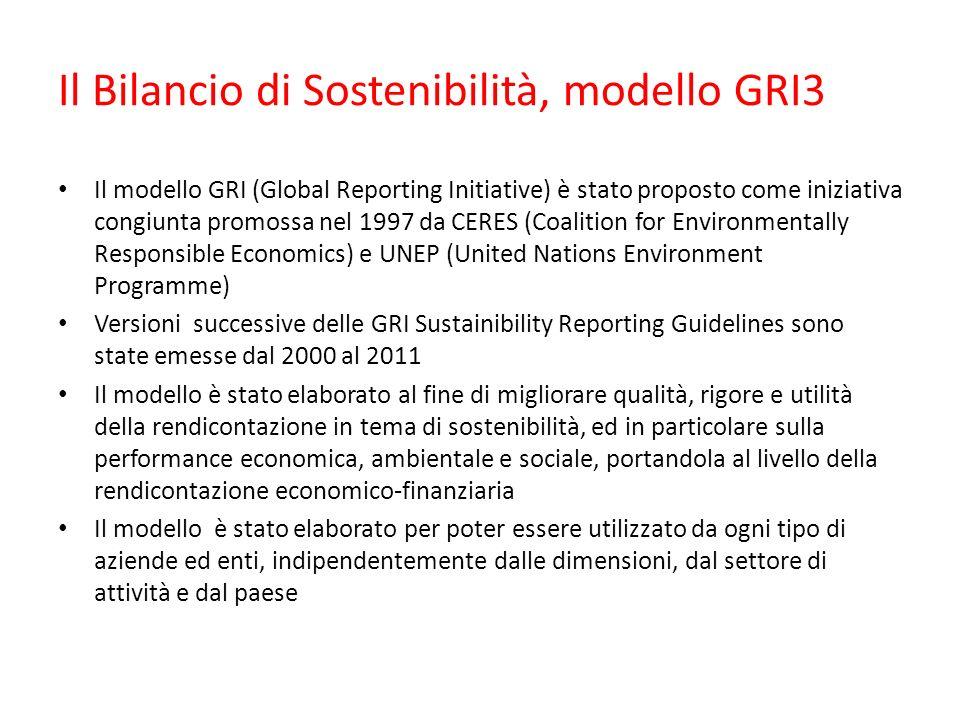 Il Bilancio di Sostenibilità, modello GRI3 Il modello GRI (Global Reporting Initiative) è stato proposto come iniziativa congiunta promossa nel 1997 da CERES (Coalition for Environmentally Responsible Economics) e UNEP (United Nations Environment Programme) Versioni successive delle GRI Sustainibility Reporting Guidelines sono state emesse dal 2000 al 2011 Il modello è stato elaborato al fine di migliorare qualità, rigore e utilità della rendicontazione in tema di sostenibilità, ed in particolare sulla performance economica, ambientale e sociale, portandola al livello della rendicontazione economico-finanziaria Il modello è stato elaborato per poter essere utilizzato da ogni tipo di aziende ed enti, indipendentemente dalle dimensioni, dal settore di attività e dal paese