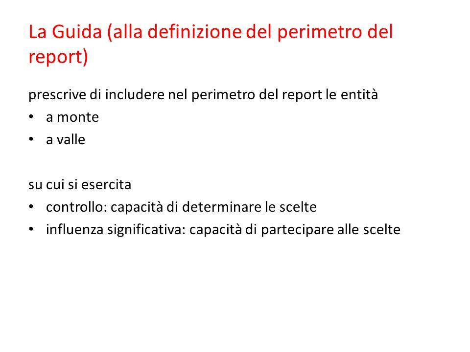 La Guida (alla definizione del perimetro del report) prescrive di includere nel perimetro del report le entità a monte a valle su cui si esercita controllo: capacità di determinare le scelte influenza significativa: capacità di partecipare alle scelte