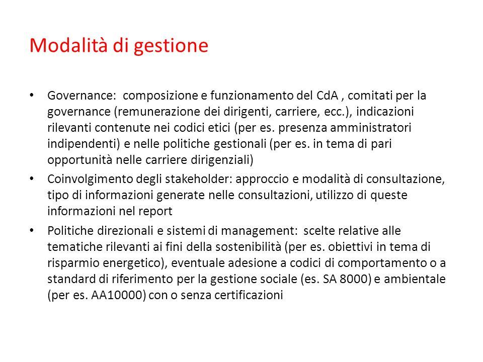 Modalità di gestione Governance: composizione e funzionamento del CdA, comitati per la governance (remunerazione dei dirigenti, carriere, ecc.), indicazioni rilevanti contenute nei codici etici (per es.