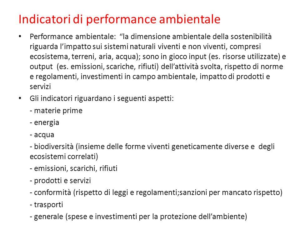 Indicatori di performance ambientale Performance ambientale: la dimensione ambientale della sostenibilità riguarda l'impatto sui sistemi naturali viventi e non viventi, compresi ecosistema, terreni, aria, acqua); sono in gioco input (es.