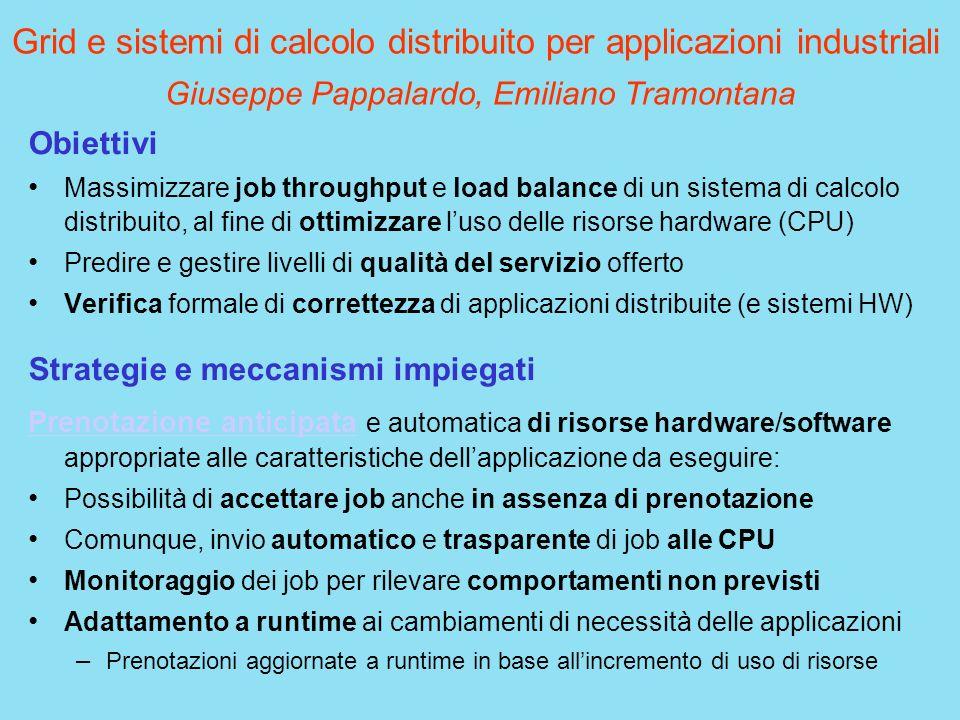 Grid e sistemi di calcolo distribuito per applicazioni industriali Obiettivi Massimizzare job throughput e load balance di un sistema di calcolo distr