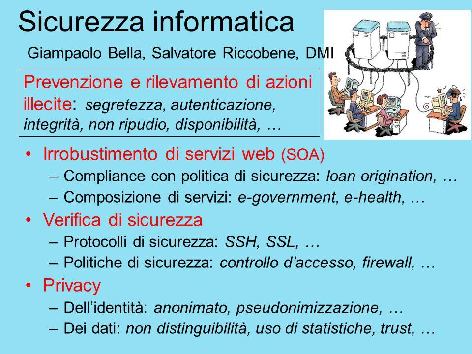 Sicurezza informatica Irrobustimento di servizi web (SOA) –Compliance con politica di sicurezza: loan origination, … –Composizione di servizi: e-gover
