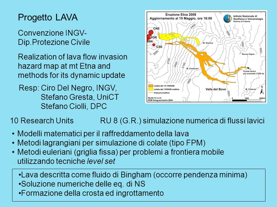 Progetto LAVA Convenzione INGV- Dip.Protezione Civile Realization of lava flow invasion hazard map at mt Etna and methods for its dynamic update Resp: