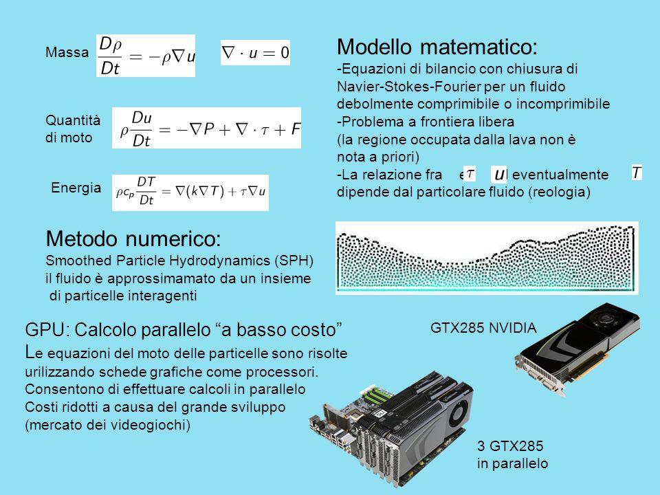 Modello matematico: -Equazioni di bilancio con chiusura di Navier-Stokes-Fourier per un fluido debolmente comprimibile o incomprimibile -Problema a fr