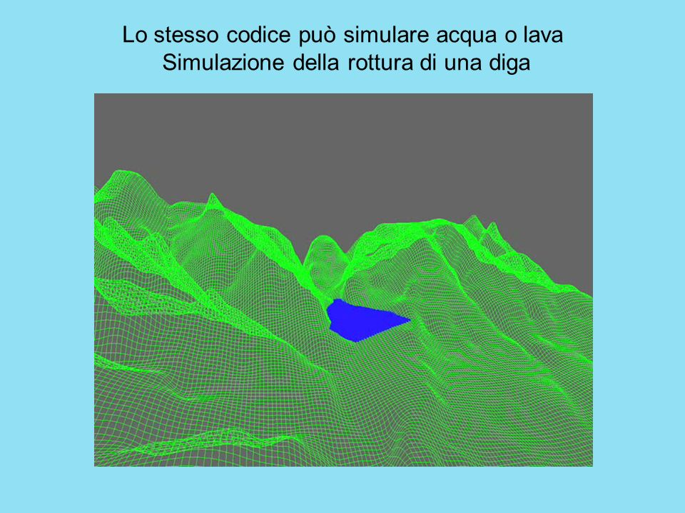 Lo stesso codice può simulare acqua o lava Simulazione della rottura di una diga