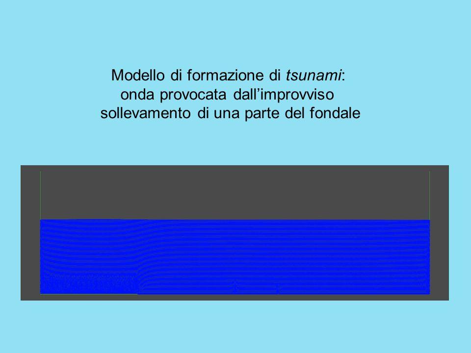 Modello di formazione di tsunami: onda provocata dall'improvviso sollevamento di una parte del fondale