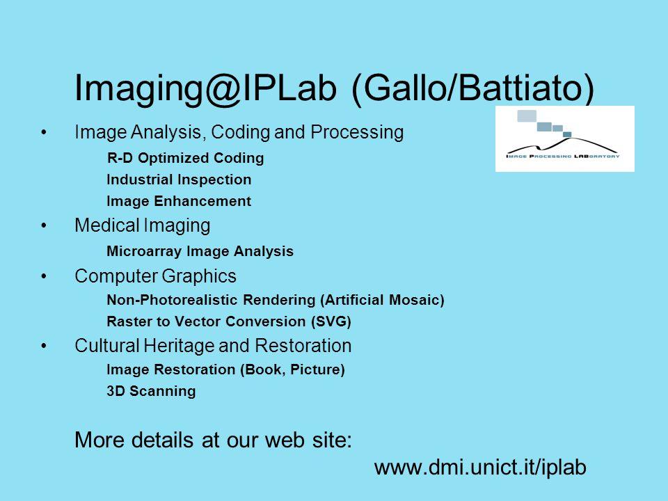 Modellizzazione del ginocchio Estrazione dei modelli 3D dalle immagini TAC CT Scan of the bone Binarisation3D Model DMI – Image processing group (S.Battiato, G.Impoco) Il modello 3D restituisce anche, mediante interpolazione, i parametri meccanici dell'osso forniti dalle misure ottenute da DIIM in alcuni punti