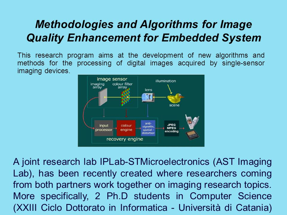 Methodologies and Algorithms for Image Quality Enhancement for Embedded System This research program aims at the development of new algorithms and met