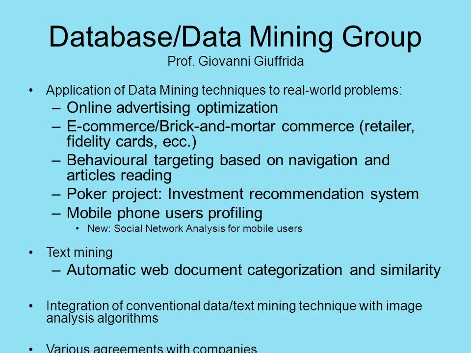 Database/Data Mining Group Prof.Alfredo Ferro Sistema per il mining per di dati GEO satellitari.