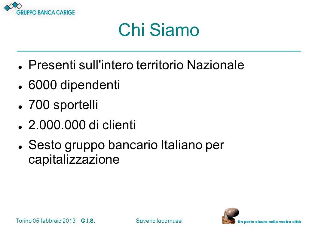 Torino 05 febbraio 2013 G.I.S.Saverio Iacomussi I nostri numeri 2011 Dati in milioni di euro 2011Variazione 2011 - 2010 ATTIVITA FINANZIARIE INTERMEDIATE 52.011+ 2,6% RACCOLTA DIRETTA 28.439+ 9% CREDITI VERSO CLIENTELA (MONTE IMPIEGHI) 27.534+ 8,5% UTILE NETTO 186,5+ 5,3%