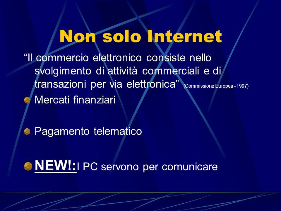 """Non solo Internet """"Il commercio elettronico consiste nello svolgimento di attività commerciali e di transazioni per via elettronica"""" (Commissione Euro"""
