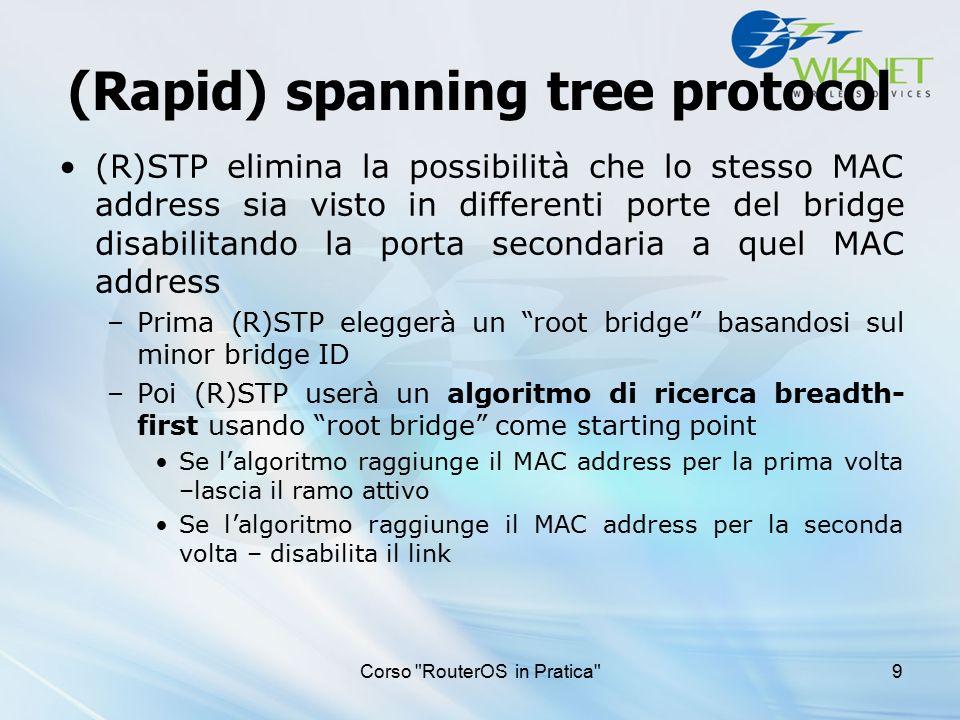 Corso Wireless in Pratica 30 Route Statiche Specificano come raggiungere Network precisi (conosciuti) Default gateway è una route statica Invia tutto il traffico ad uno spefico host (destination 0.0.0.0) – il gateway