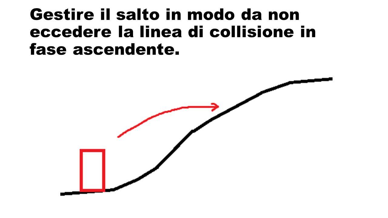 Gestire il salto in modo da non eccedere la linea di collisione in fase ascendente.