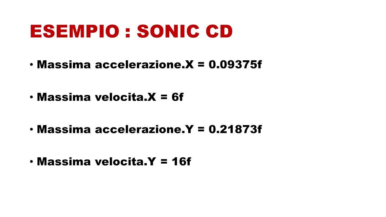 ESEMPIO : SONIC CD Massima accelerazione.X = 0.09375f Massima velocita.X = 6f Massima accelerazione.Y = 0.21873f Massima velocita.Y = 16f