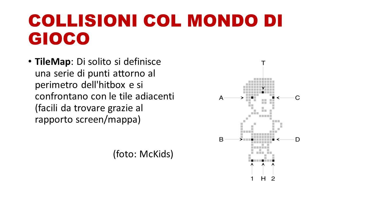 COLLISIONI COL MONDO DI GIOCO TileMap: Di solito si definisce una serie di punti attorno al perimetro dell hitbox e si confrontano con le tile adiacenti (facili da trovare grazie al rapporto screen/mappa) (foto: McKids)