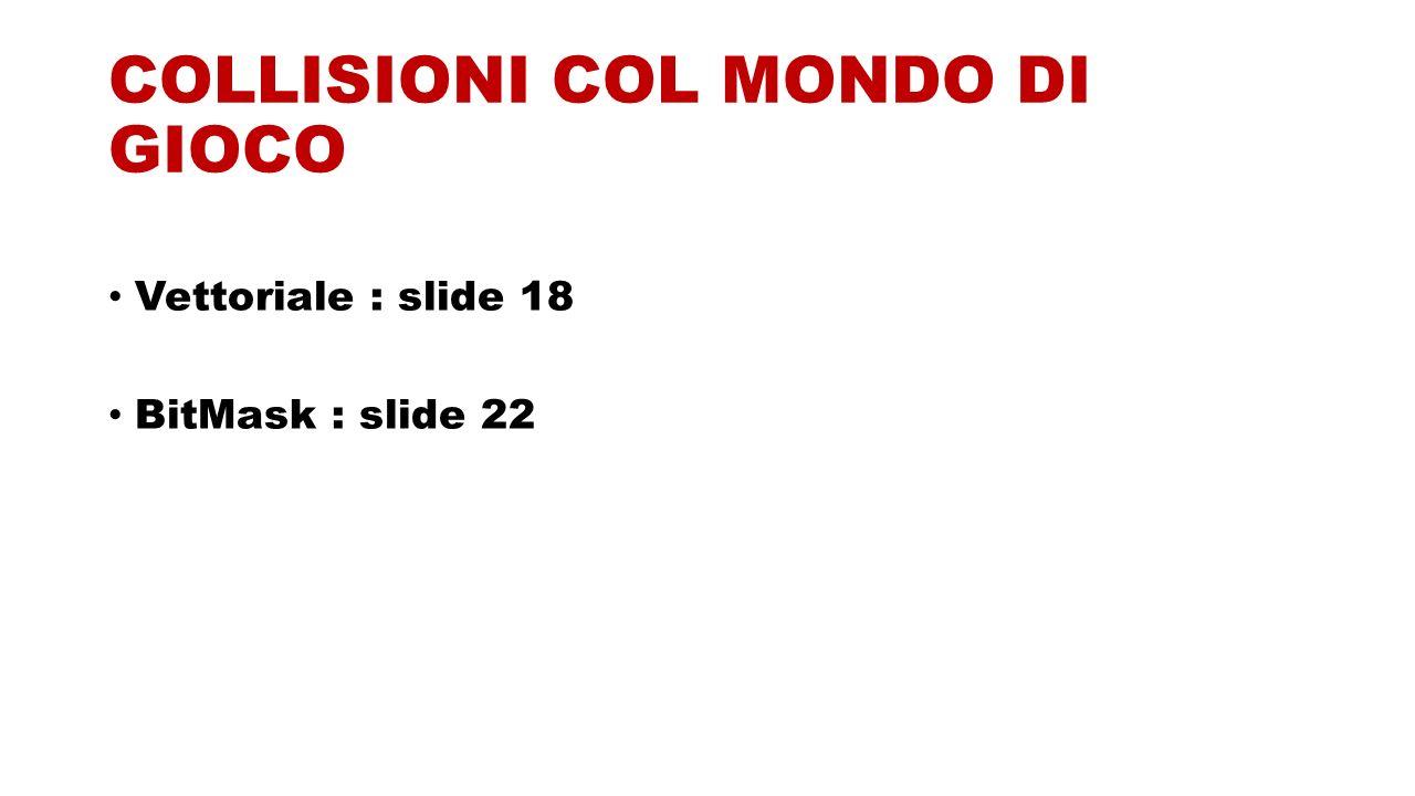 COLLISIONI COL MONDO DI GIOCO Vettoriale : slide 18 BitMask : slide 22