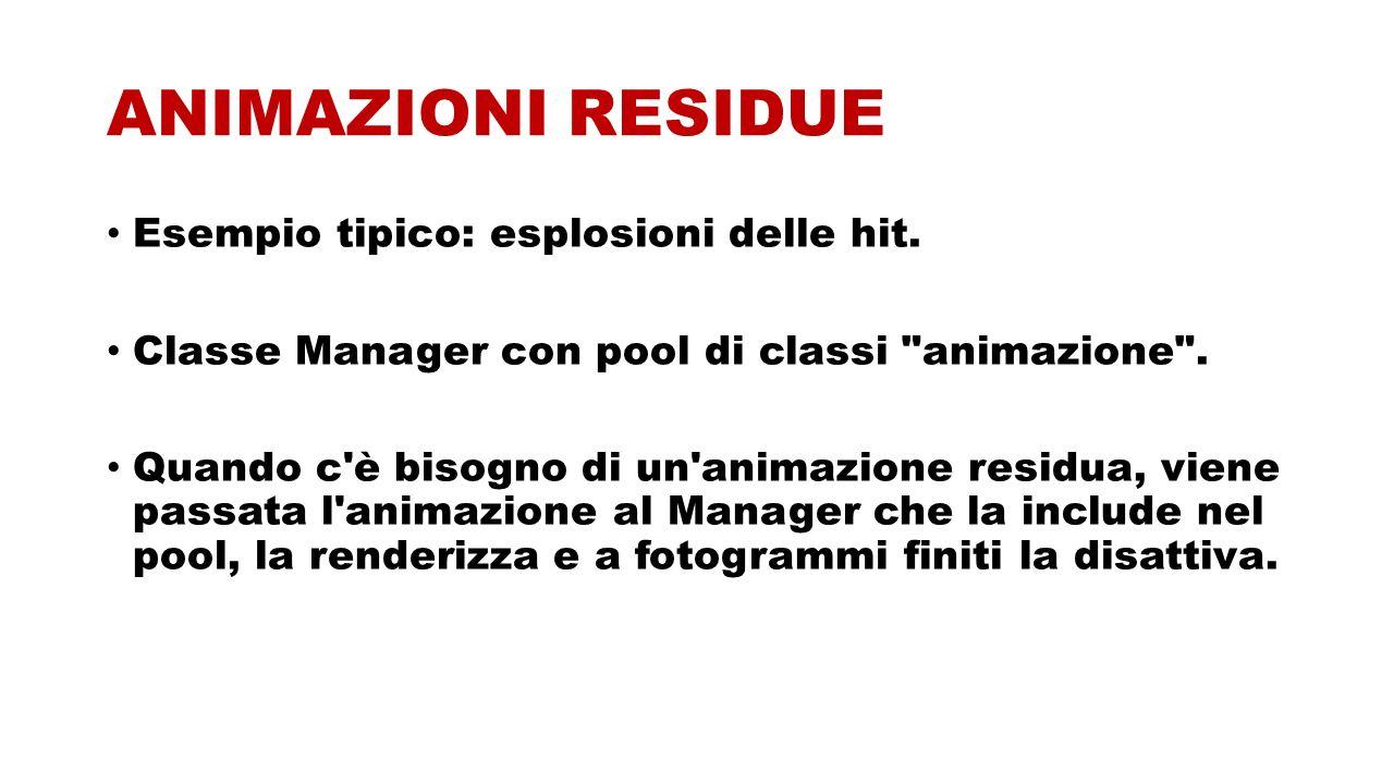 ANIMAZIONI RESIDUE Esempio tipico: esplosioni delle hit. Classe Manager con pool di classi