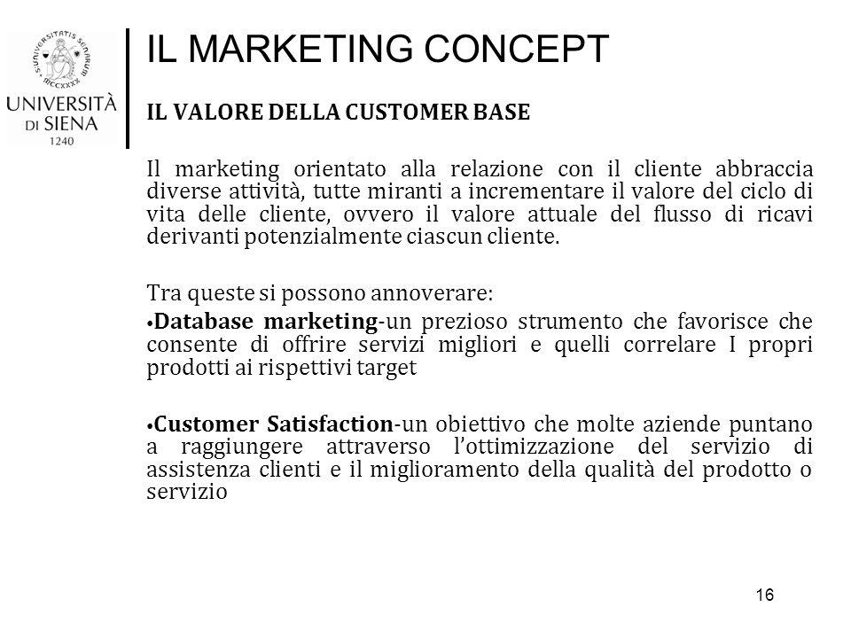 IL MARKETING CONCEPT IL VALORE DELLA CUSTOMER BASE Il marketing orientato alla relazione con il cliente abbraccia diverse attività, tutte miranti a in