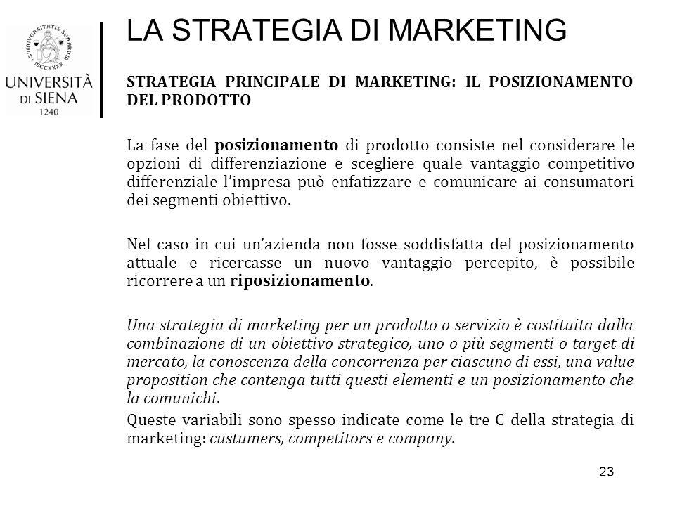 LA STRATEGIA DI MARKETING STRATEGIA PRINCIPALE DI MARKETING: IL POSIZIONAMENTO DEL PRODOTTO La fase del posizionamento di prodotto consiste nel consid